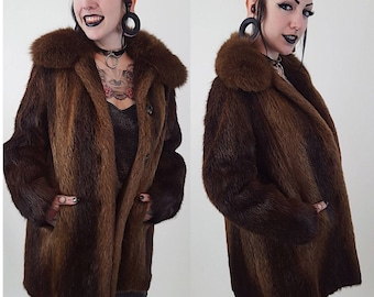 19900d84a 90's Brown Beaver Fur Winter Coat Medium Large - Soft Furry Classic Genuine Fur  Jacket - Fall Winter Womens Unisex Street Fashion Vintage