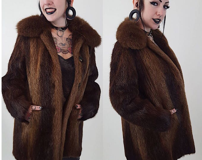 90's Brown Beaver Fur Winter Coat Medium Large - Soft Furry Classic Genuine Fur Jacket - Fall Winter Womens Unisex Street Fashion Vintage