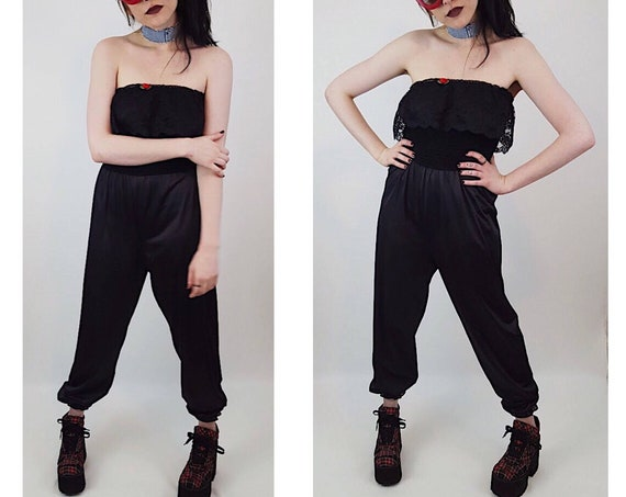 1980's Black Silky Strapless Pants Jumpsuit - Baggy Leg Pants Suit Sleeveless Medium Large - Womens Vintage Lace Ruffle Jumper Rose Romper