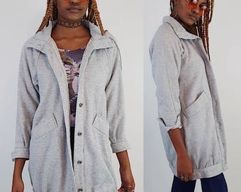80's Slouchy Sweatshirt Hoodie Coat - Warm Gray Hooded Soft Sweat Shirt Jacket - Small Medium Grey 1980s Vintage Baggy Oversized Long Coat