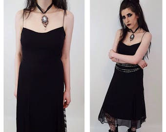 Vintage Black Lace Spaghetti Strap Betsey Johnson Dress - Womens Vintage Lace Tank Dress Small - Sheer Sexy Goth Lace Layer Lingerie Dress