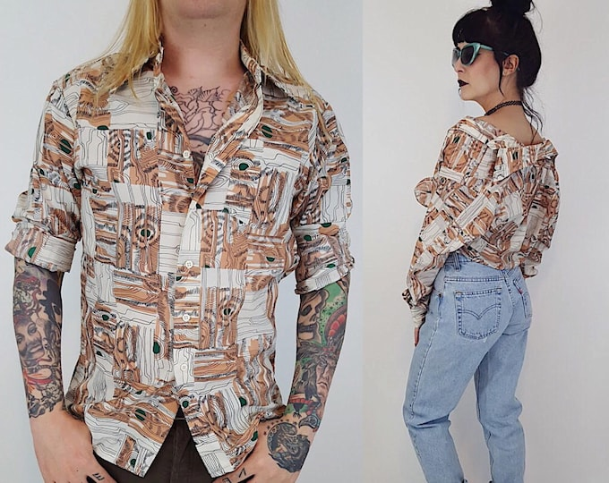 1970's Wood Grain Pattern Shirt - Retro Long Sleeve Button Up Blouse - 70s UNISEX All Over Print Collared Top -Lightweight Brown White Shirt