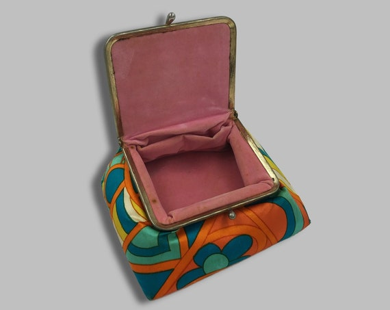 60's Travel Jewelry Pouch MOD Retro Purse Insert Case - Small Hippie Colorful Snap Closure Mini Pouch Money/Card Holder Vintage Flower Purse