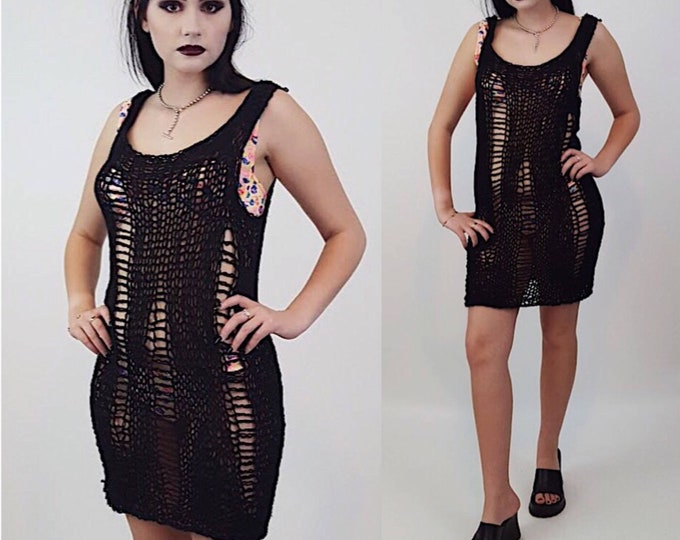HANDMADE 90s Style Sheer Knit Tank Dress- Womens Small Black Grunge Mini-Open See Through Eco Friendly Sleeveless Spring Summer Goth Fashion