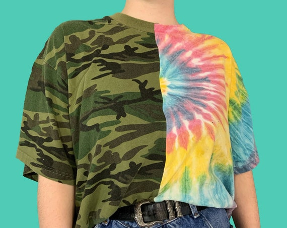 Upcycled Mixed Prints Reconstructed T-shirt Adult XL Plus - One Of One Tie Dye Camo Funky Half & Half Remade Split Grunge Streetwear VTG Tee