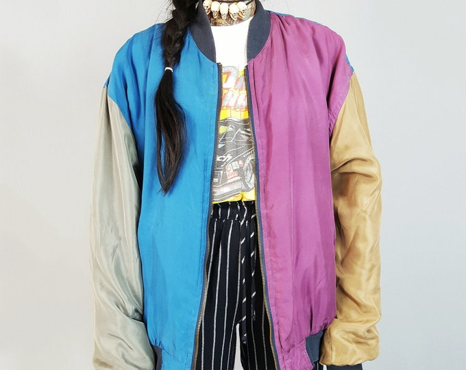 90's SILK Wind Breaker Colorblock Jacket Medium - Colorful Bomber Jacket - Zip Up Multicolor Windbreaker Colorful Silk Lightweight Coat
