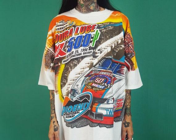 90's NASCAR All Over Print Unisex T-Shirt XLarge Plus Size - 1998  Nascar Vintage Front & Back Print Race Car Tee - White Racing T-Shirt