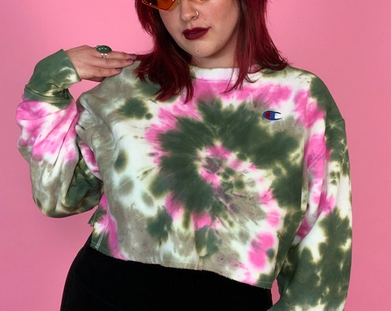 Tie Dye Swirl Champion Crop Top Pullover Sweatshirt Womens Large - Hand Dyed Trendy Tie Dye Sporty Winter Cropped Pullover Unique Casual