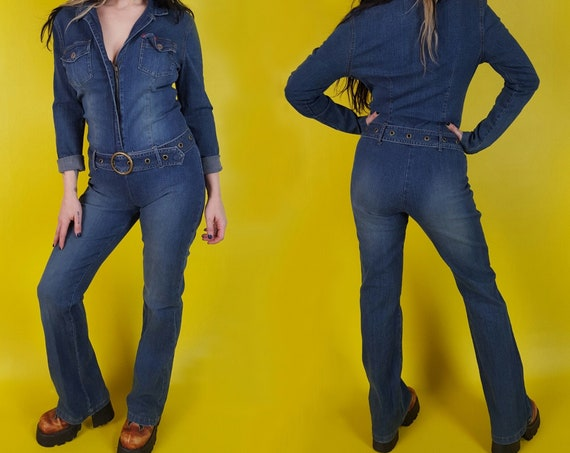 y2k Vintage Stretch Denim Jumpsuit Romper - One Piece Denim Pants Disco Jumper w/ Belt - VTG Fun Casual Romper Zip-Up Flare Leg Coveralls