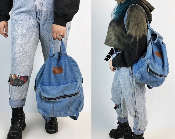 90's Soft Denim Book Bag - Blue Jean Basic School Backpack Grunge Everyday Slouchy College Backpack - Large Cotton Unisex Vintage Tote Bag