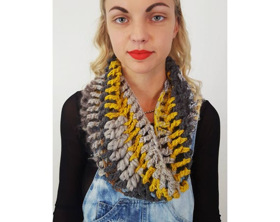 Hand Crochet Upcycled Yellow Grey Circle Scarf - Boho Hipster Fashion Womens Accessory - Soft Warm Fall Womens Wool Fuzzy Cowl Scarf