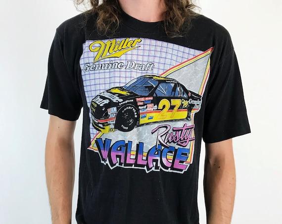 80's NASCAR Rusty Wallace Miller Genuine Draft 50/50 Tee Medium - VTG Rusty Wallace #27 Thin Retro Nascar Logo Grunge Rare Nascar Tee Shirt