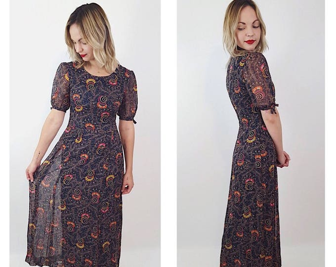 50's Handmade Retro Print Floral Maxi Dress - Vtg One of a Kind Womens Modest Ornate Blue Yellow Orange Sheer Lined Dress w/ Tie Sleeve