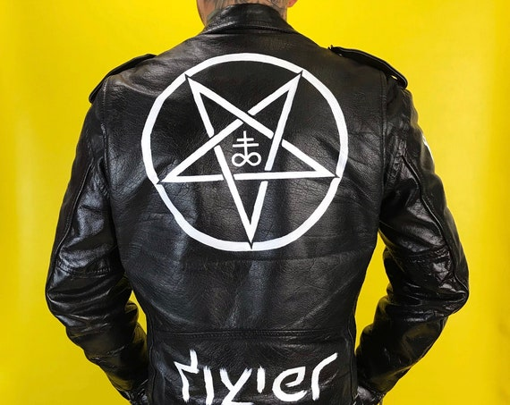 Vintage Black Metal Satanic Occult Leather Biker Jacket Mens 38 Medium - Wilsons Leather Goth Gang Jacket Hand Painted Custom Black White