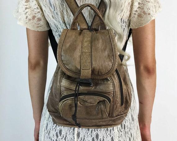 90's Soft Leather Backpack Purse - Double Zipper Strap Camel Brown VTG Leather BookBag Purse - Vintage Grunge Mini Trendy Backpack Purse