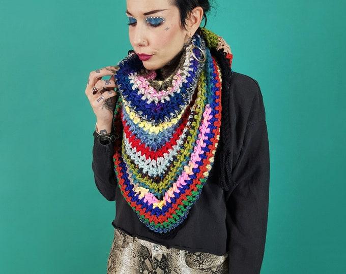 Handmade Rainbow Stripe Crochet Shawl - Large Hand Knit Multicolor Wrap Scarf - Bright Colorful Handknit Statement Fall Triangle Scarf