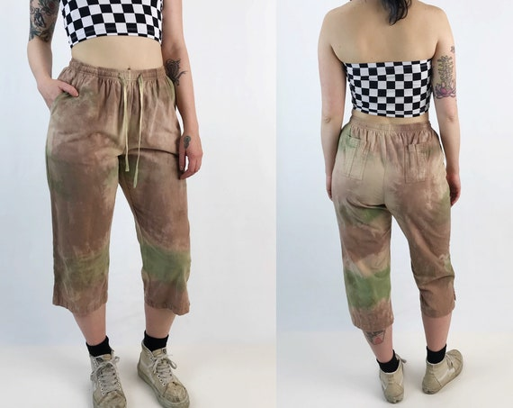 Grunge Tie Dye Cotton Trouser Pants Elastic High Waist S/M - Hand Dyed Casual Earthy Tones Pants w/ Pockets -Trendy Fall Tapered Flood/Capri