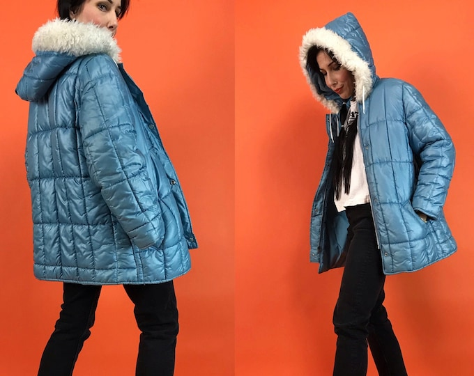 70s Vintage baby Blue Puffer Coat Womens Small - Pastel Sky Blue Puffy Ski Coat w/ Hood  - Retro VTG Winter Snow Coat Street Outerwear