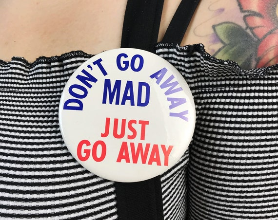 "4.25"" Large Pinback Button - Motley Crue Band Pin Large Metal Typography Button - ""Don't Go Away Mad Just Go Away"" Rare 80's Button"