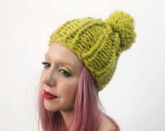 Handknit Handmade Neon Yellow PomPom Hat - Boho Hipster Fashion Style Unique Womens Accessory Soft Warm Winter Fall Upcycled Yarn Beanie