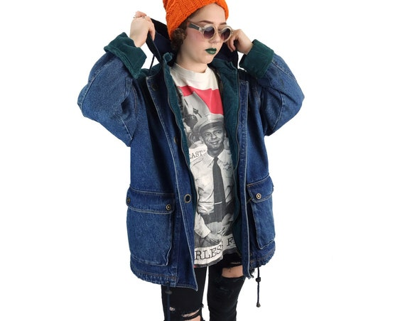 90s Denim Coat With Hood Womens Large - Everyday Winter Street Wear Slouchy Thick Lined Denim/Corduroy Coat - VTG Navy Blue Green Jean Coat