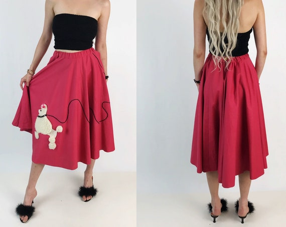 Vintage Handmade Pink Poodle Circle Skirt - 50's Style Midi Skirt - High Waist Adjustable Below the Knee Full Circle Poodle Skirt Pink White