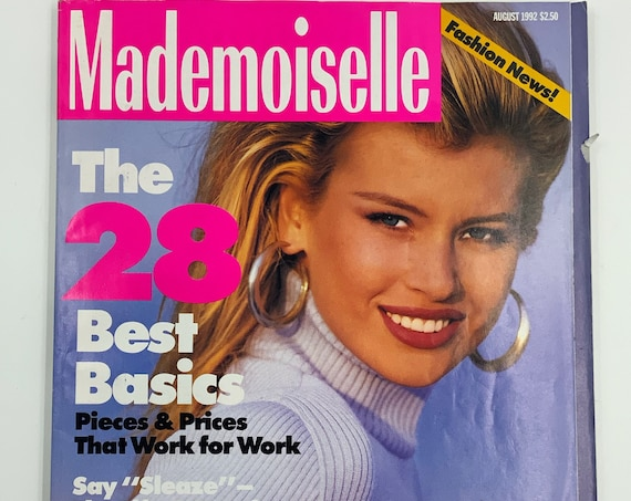 1992 Mademoiselle Fashion Magazine Summer August Issue - Vintage New York Womens Fashion News Magazine - Vintage Looks Horoscope Beauty Q&A
