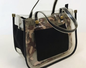 90's CLEAR Purse With Reversible Camouflage/Black Lining - Versitle Minimal Handbag See Through Black Green Brown Top Handle Militant Bag