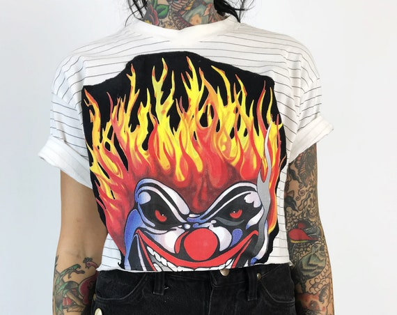 90's Flaming Clown Upcycled Cropped T-shirt Medium - Striped Top With Creepy Clown Patch Recycled Crop - Twisted Metal Rare Clown Face Tee