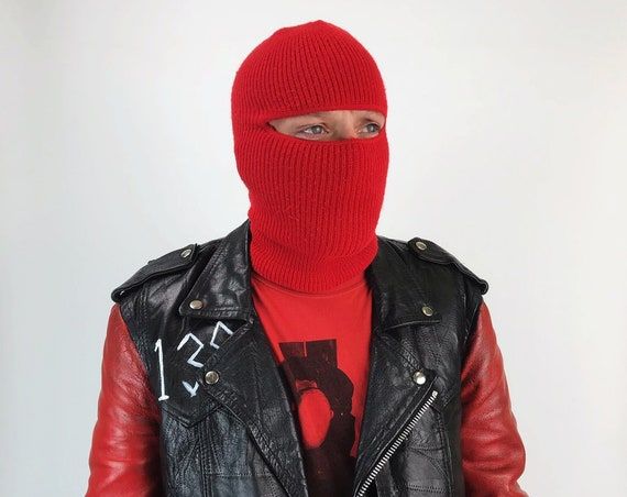80's Red Ski Mask Full Face Winter Gear - Red Retro Woven Knit Ninja Face Mask Hat/Beanie - Vintage Winter Hat Face Cover Skully UNISEX Mask