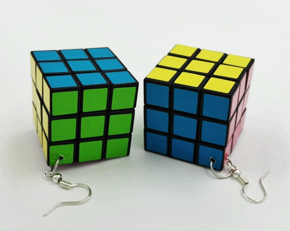 Rubix Cube Statement Earrings Handmade Fun Toy Earrings - Colorful Dangly Kawaii Miniature Toy Jewelry - Small Working Rubix Cube Earrings