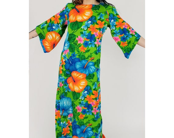 60s Vintage Neon Tropical Print Maxi Dress - Small Green & Orange Hibiscus Flower Hawaiian All Over Print Dress with Wizard Sleeves