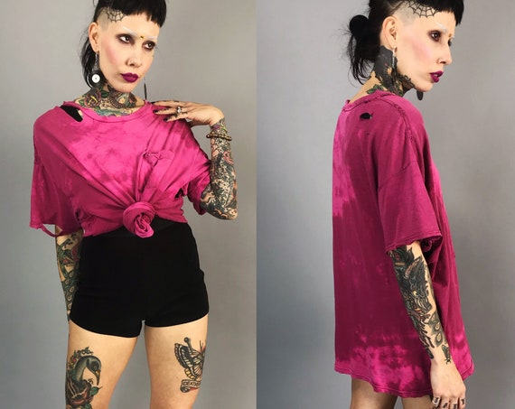 Holey Distressed Hot Pink Tie Dye Bleach Tattered Tee Large - UNISEX Two Tone Grunge Punk Streetwear - Baggy Acid Wash