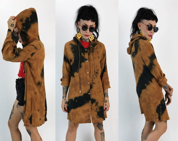 Tie Dye Hoodie Bleached Button Front Long Jacket Womens Medium - Textured Grunge Button Up Black Brown Long Hooded Cardigan Fall Layer