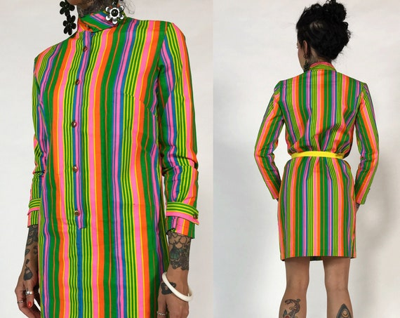 60's/70's Vintage MOD Neon Long Sleeve Minidress - Orange & Green RETRO Mini Dress - Deadstock VTG Mock Neck Vertical Stripe Shift Dress