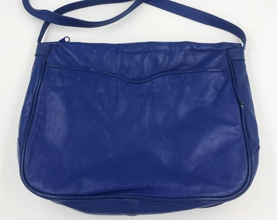 80's Blue Leather Purse Cross Body Shoulder Bag - Basic Cobalt Blue Vintage Solid Color Everyday Purse - Soft Leather Blue Statement Bag