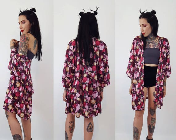 90's Vintage Rose Print Floral Robe/Open Duster - Romantic Pink & Purple Long Floral Printed Lingerie - Pink Rose Print Lingerie Top/Layer