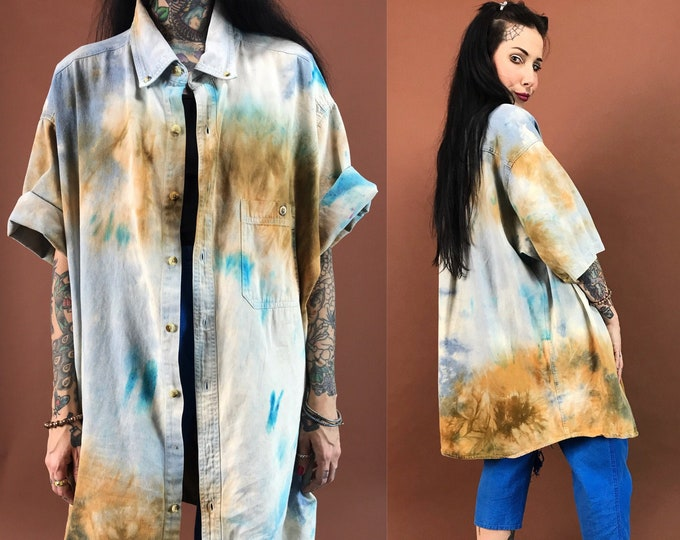 90's Rustic Tie Dye Bleached Button Up Shirt 2XL - Unique Tall Baggy Grunge Oversized Short Sleeve Top - Hand Bleach Dyed VTG Brown Blue