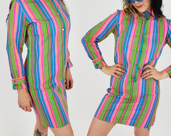 60's/70's Vintage MOD Neon Long Sleeve Minidress Small - Blue & Pink RETRO Mini Dress - Deadstock VTG Mock Neck Vertical Stripe Shift Dress