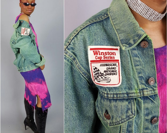 Hand Dyed Vintage Levi's Green Jacket - Upcycled 80s Jean Jacket UNISEX Everyday Denim Coat With Winston Racing Patch Added