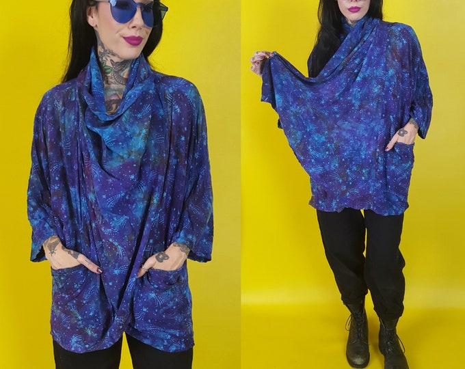 Vintage Celestial Batik Tiedye Cardigan Hoodie - Slouchy Convertible Hooded Drapey Cardigan Layer - Blue Purple Tie Dyed Shooting Star Cardi