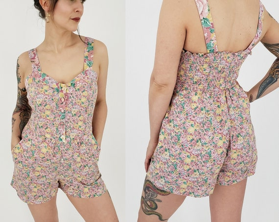 90's Vintage Floral Shorts Romper - Pastel Flower Print Summer Jumper Shorts Small - Vtg Deadstock Womens OnePiece Short with Original Tags