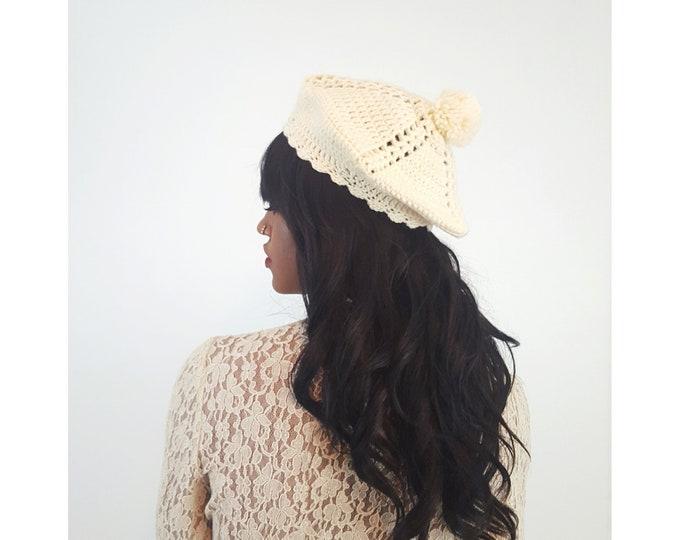 Handknit Handmade Cream Beret Hat - Boho Hipster Art Fashion Style Unique Womens Accessory Soft Warm Winter Fall Hand Crochet Beanie