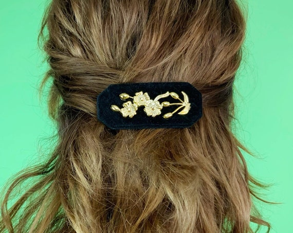 80's Black Velvet Hair Barrett French Clip - Plastic Black ROSE Statement Hair Clip VTG Hair Accessory French Clip - Handmade Romantic Goth