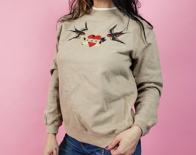 Upcycled Hand Embroidered Pullover Sweatshirt - Small Tan Sweatshirt with Swallows & Heart Banner - One of a Kind Remade Stitched Sweatshirt