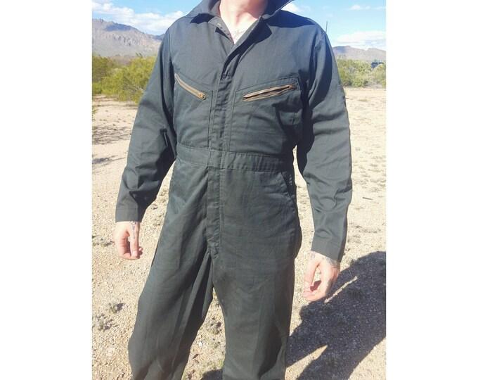 70s Jumper Pants Suit Coveralls Men's XL Extra Large - Utility Minimalist Jumpsuit Pants Suit - VTG Zip Front Olive Green Jumper Large