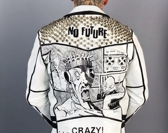 Painted Leather Jacket Mens 38 - Major Accident UK82 CRAZY Punk Fashion Album Art Black White Custom Made Studded Leather Moto Biker Jacket