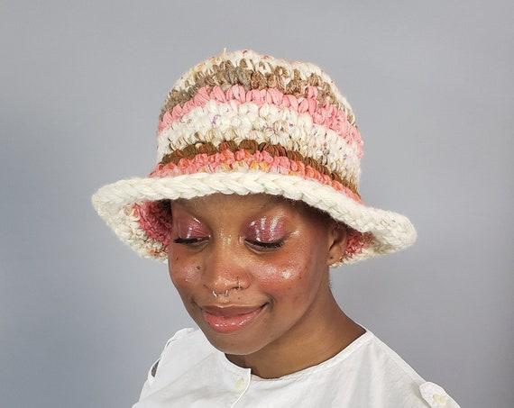 Handmade Crochet Bucket Hat - Unique Coral Pink Stripe Womens Knit Hat - Soft Handknit Pastel Striped Upcycled Wool Yarn Bucket Hat