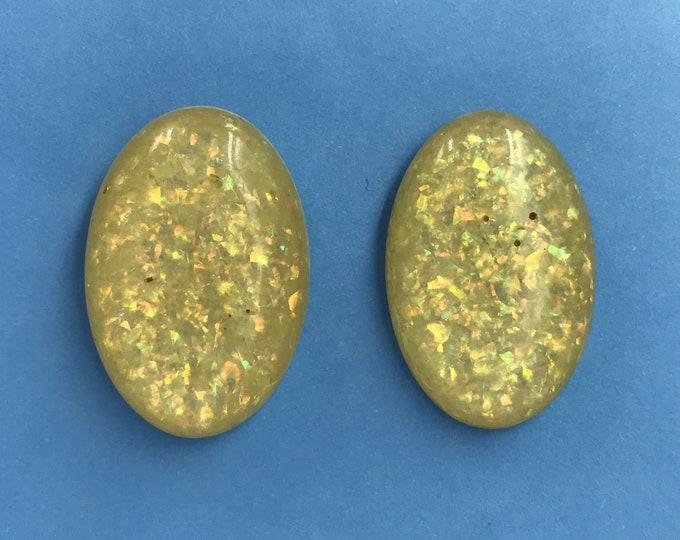 "Vintage Glitter Lucite Post Back Earrings Pierced - Vtg Plastic Oval Glittery Clear Retro Earrings - Vintage Handmade Jewelry 1"" Oval Studs"