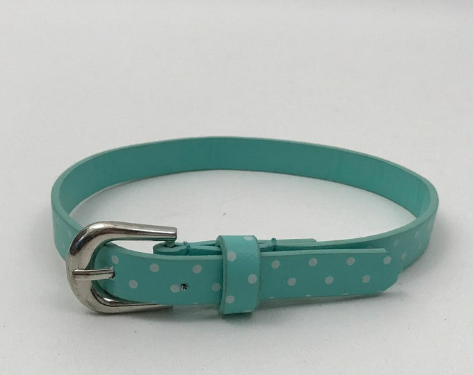 Polka Dot Belt Choker Handmade Upcycled Necklace - Recycled Pastel Blue Goth Grunge Accessory One of a Kind - Womens Vintage Belt Necklace